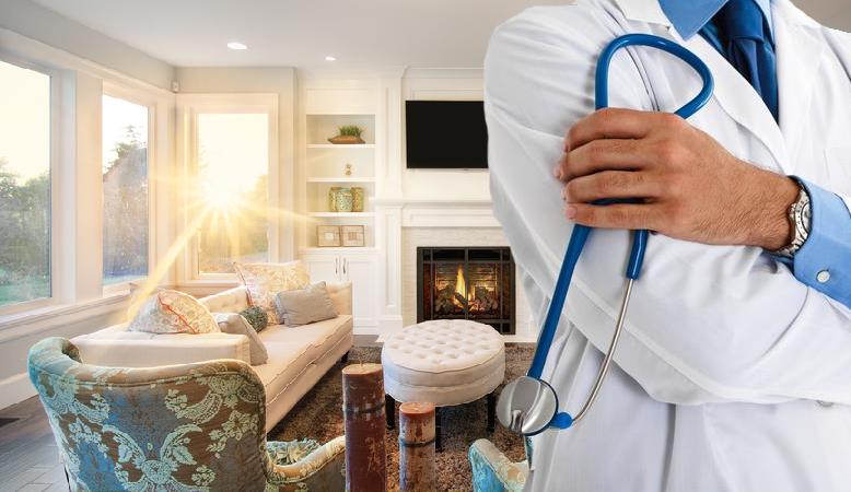 Doctor in living room